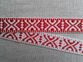 9587 ЛЕНТА ОТДЕЛОЧНАЯ красное на белом 19мм (рул.25м)