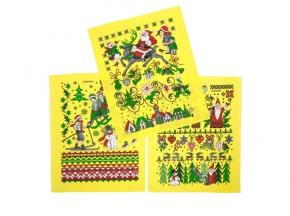 """Полотенце вафельное """"Новогодняя сказка"""" купон желтый 45*60"""
