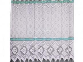19с12-Г10 рис 18058 занавеска 160*250 цв. белый с голубым бордюром