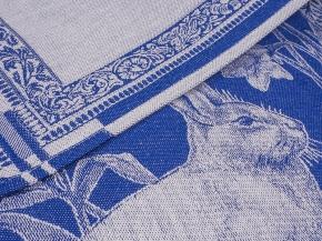 """07с-39ЯК  50*70  Полотенце """"Пасхальный кролик"""" цвет синий"""