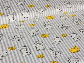 Ткань арт 186055 п/лен отб.набивной рис.19-38/1 Мышки с сыром, ширина 150см
