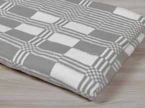 Одеяло байковое 140*205  клетка цв. серый