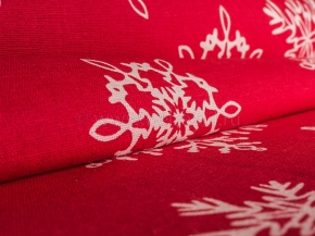 Ткань арт 186055 п/лен отб. наб рис 10-16/1 Кружевные снежинки на красном, ширина 150см