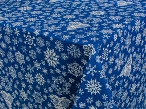 888-БЧ (802) Ткань х/б для столового белья набивная рис. 5190-02 Снежинки на синем, 145см