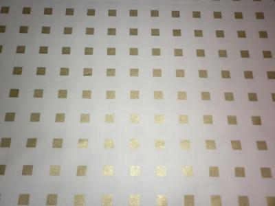 Тик набивной ширина  220см 100х/б  рисунок 10-1 Золотые квадраты на белом
